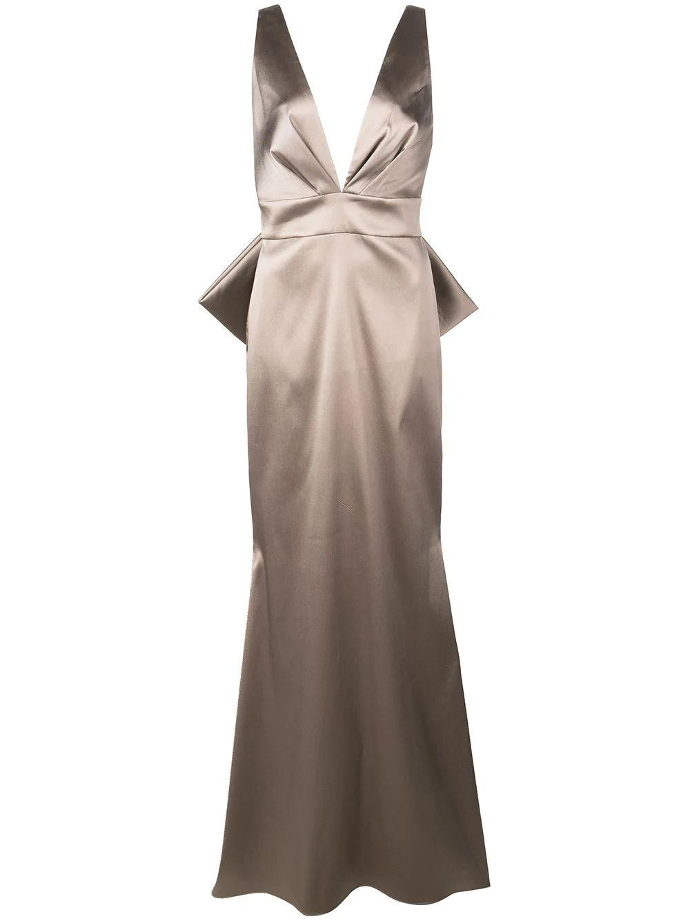 Penelope V- Neck With Bow Back Detail Gown Item # T19G04