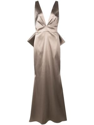 Penelope V-neck With Bow Back Detail Gown