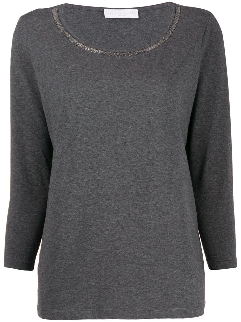 Long Sleeve  Cotton Top With Brilliant Detail