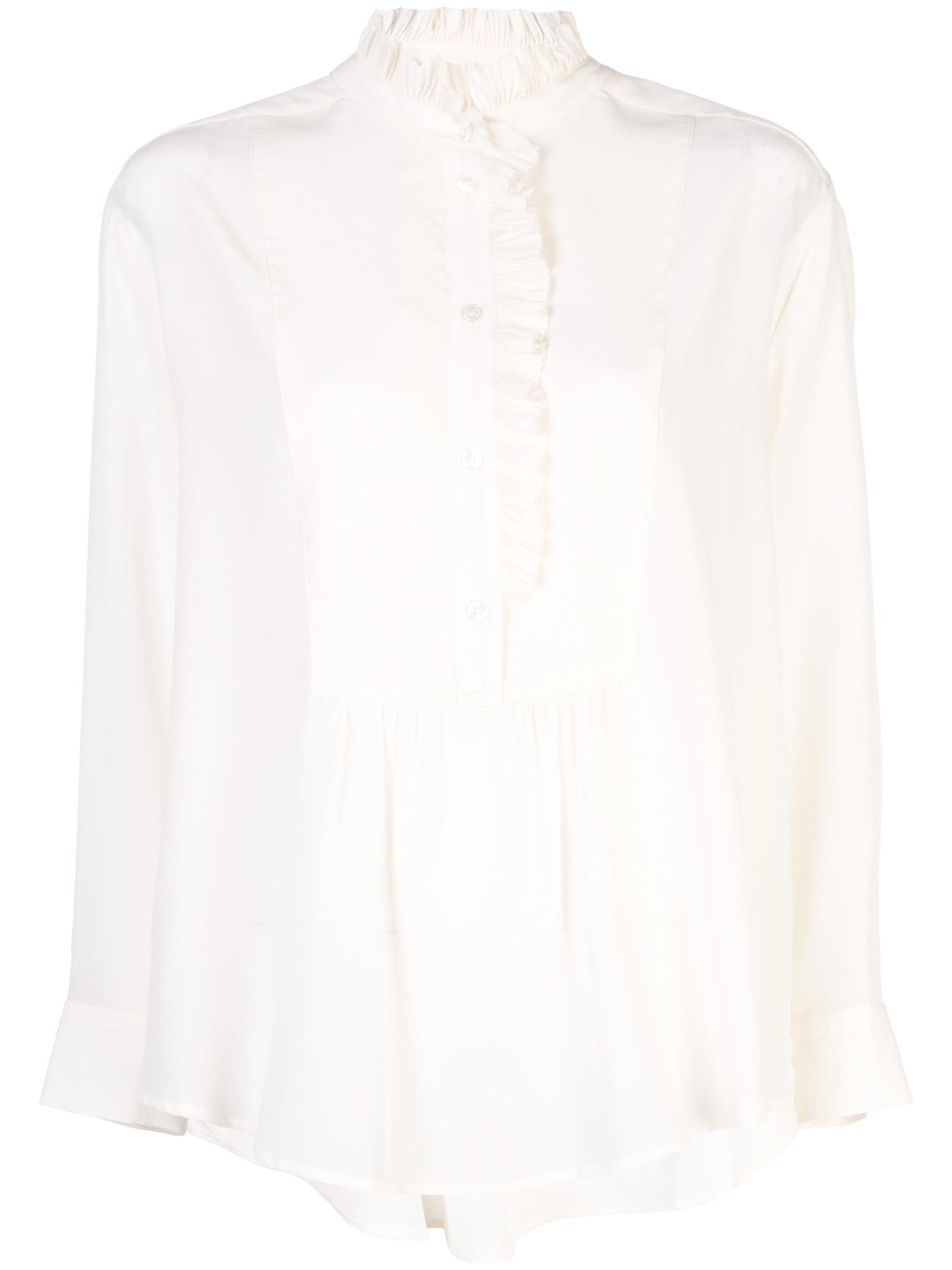 Simone Button-Up Bib Ruffle Silk Blouse