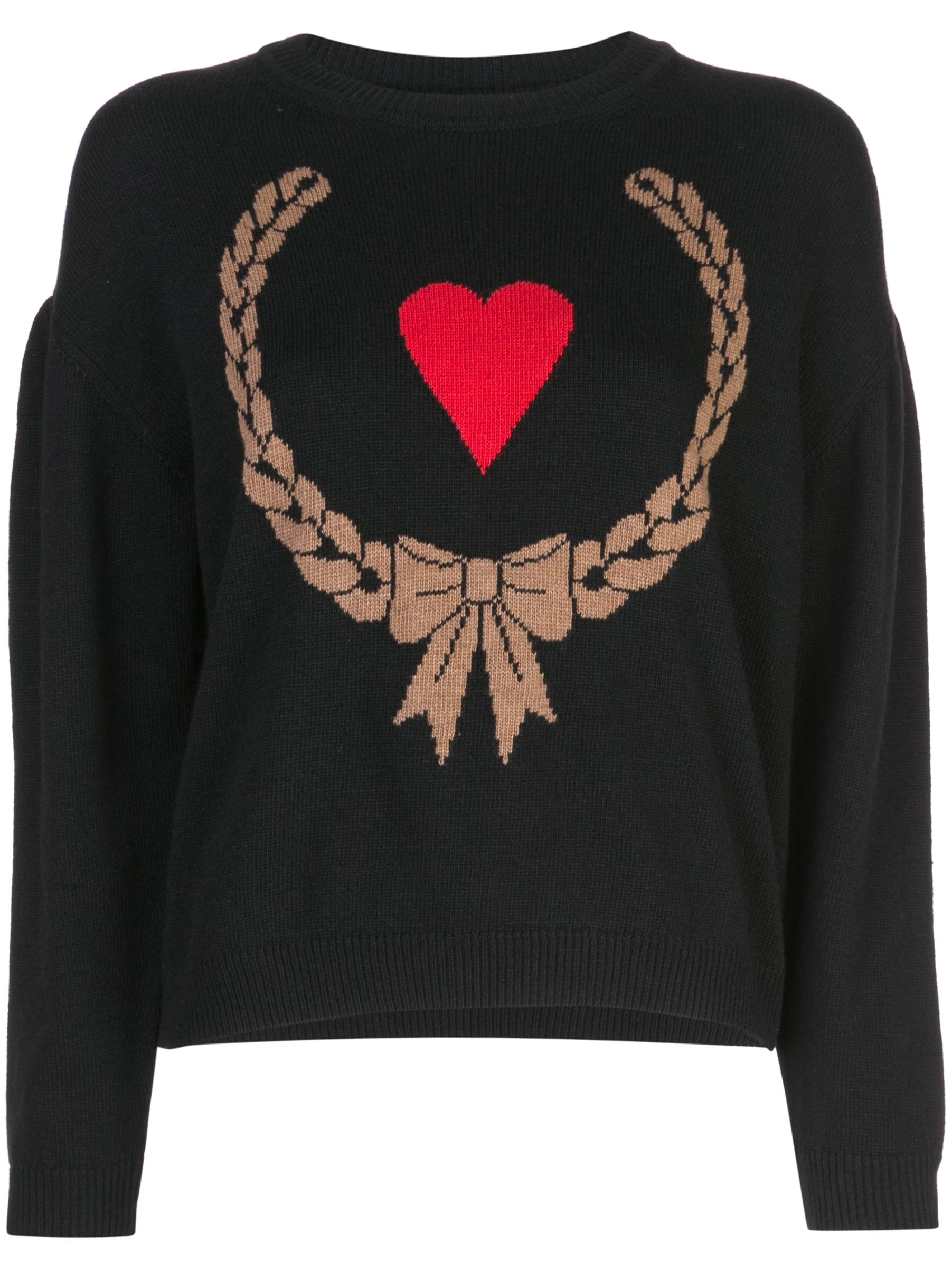Long Sleeve Heart Graphic Print Sweater