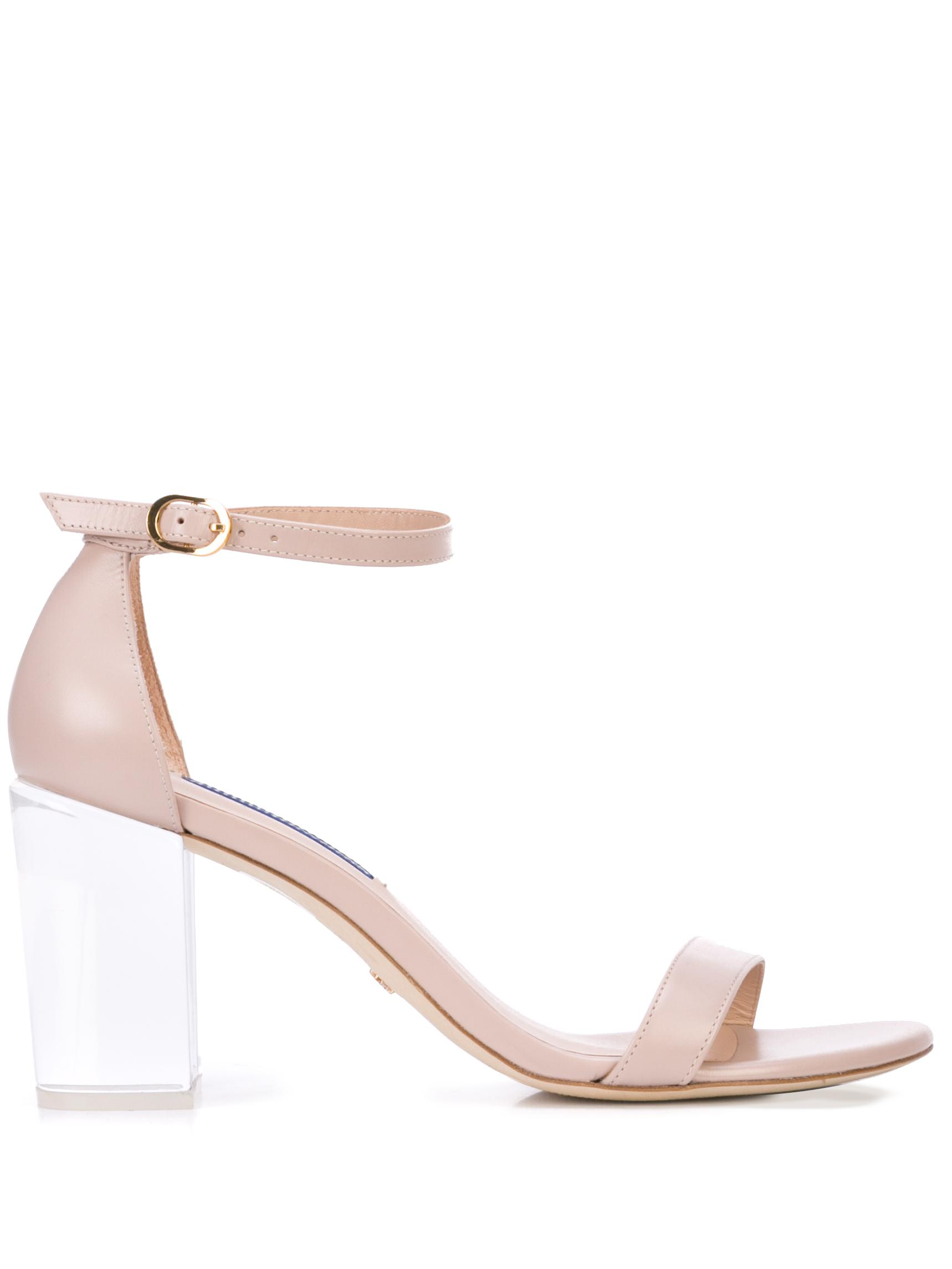 Lucite Block Heel Sandal With Ankle Strap