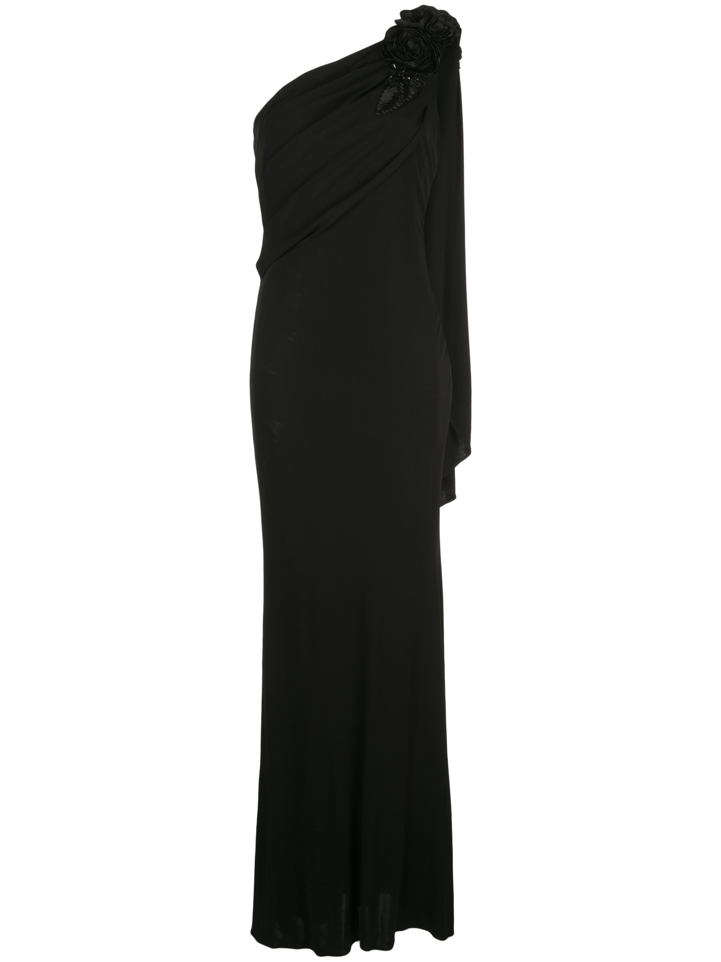 One Shoulder Asymmetric Draped Embellished Gown