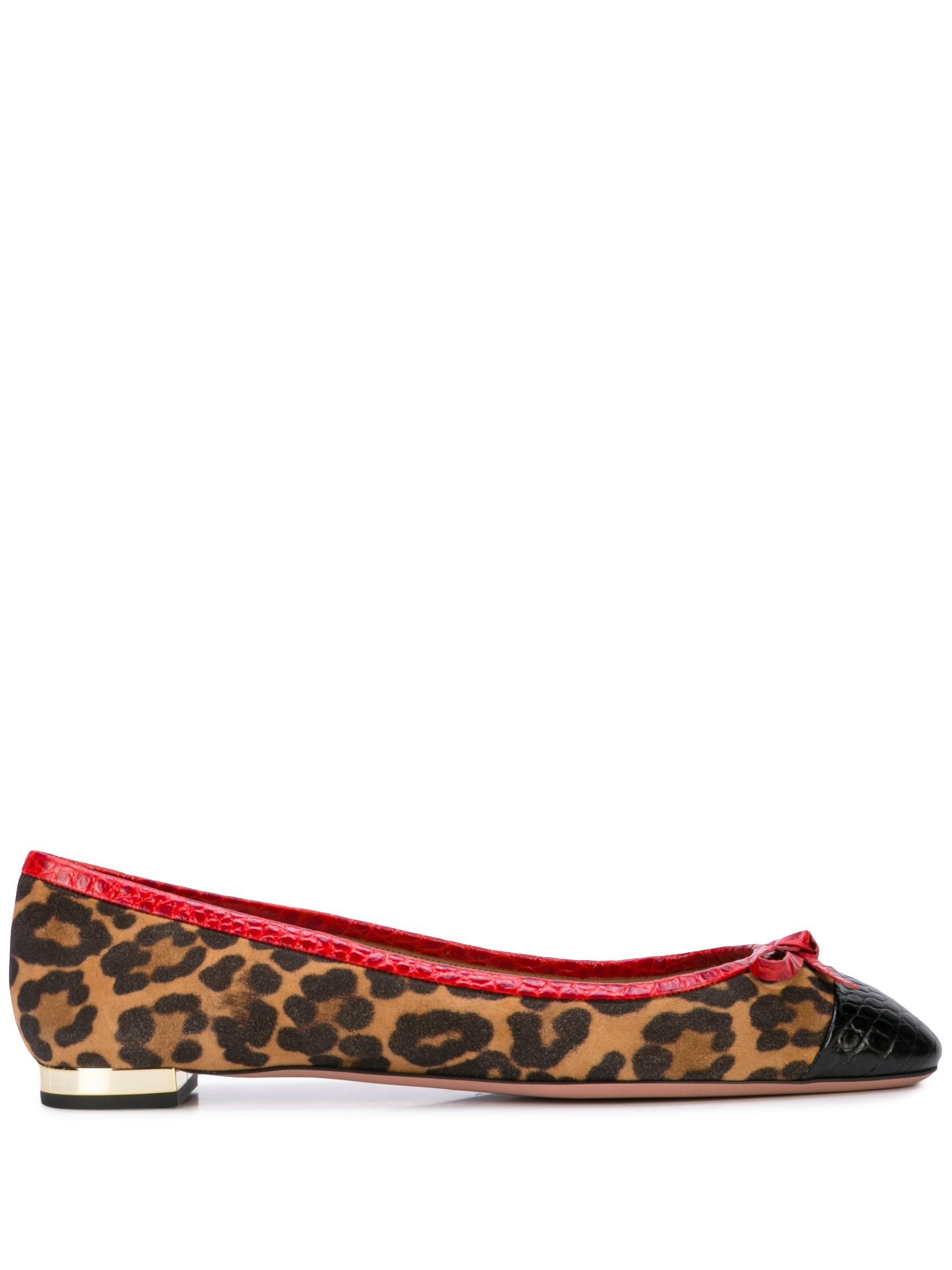 Moss Jaguar Suede/Print Crocodile Ballet Flat