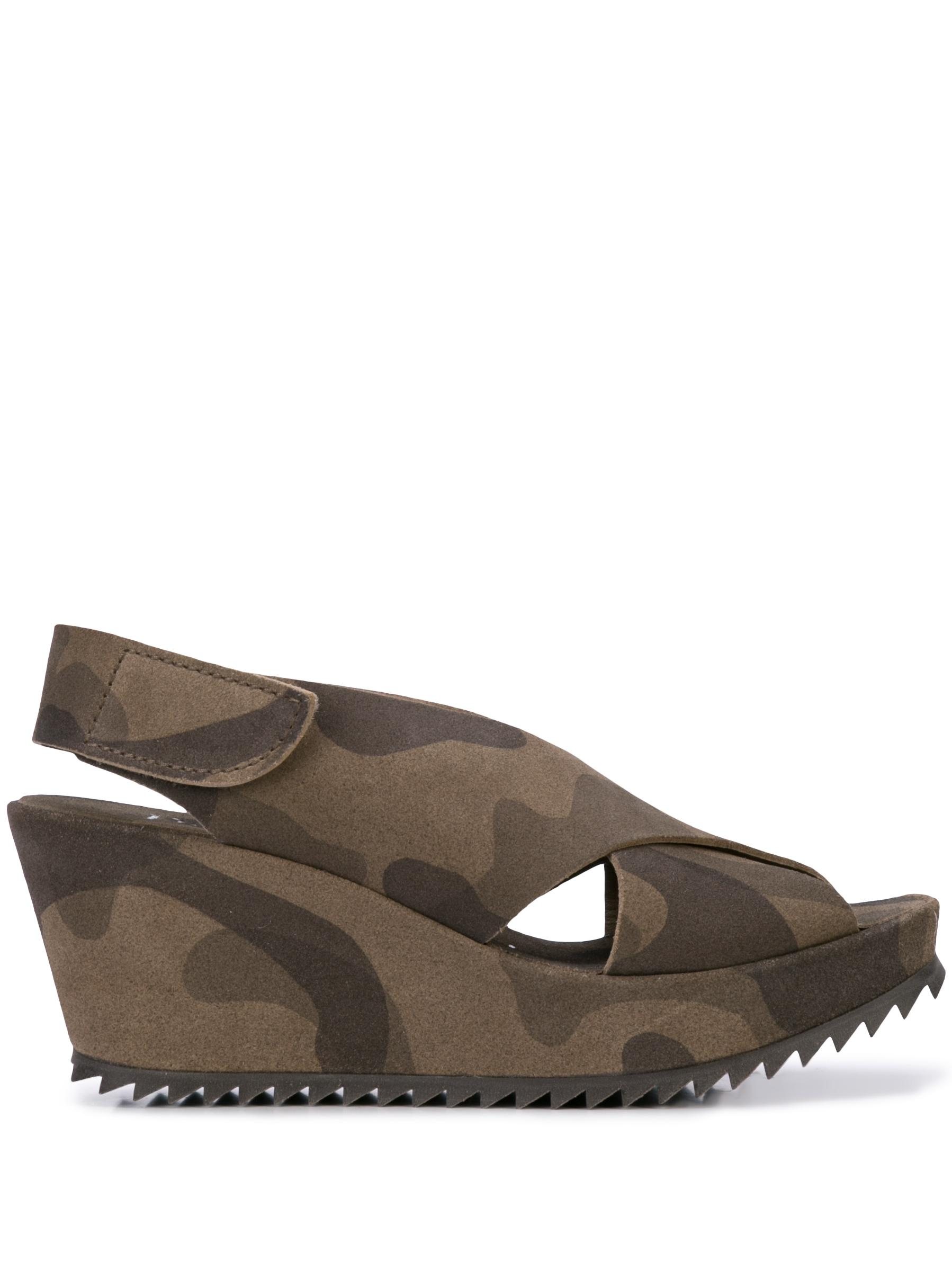 Criss Cross Platform Wedge Sandal With Slingback