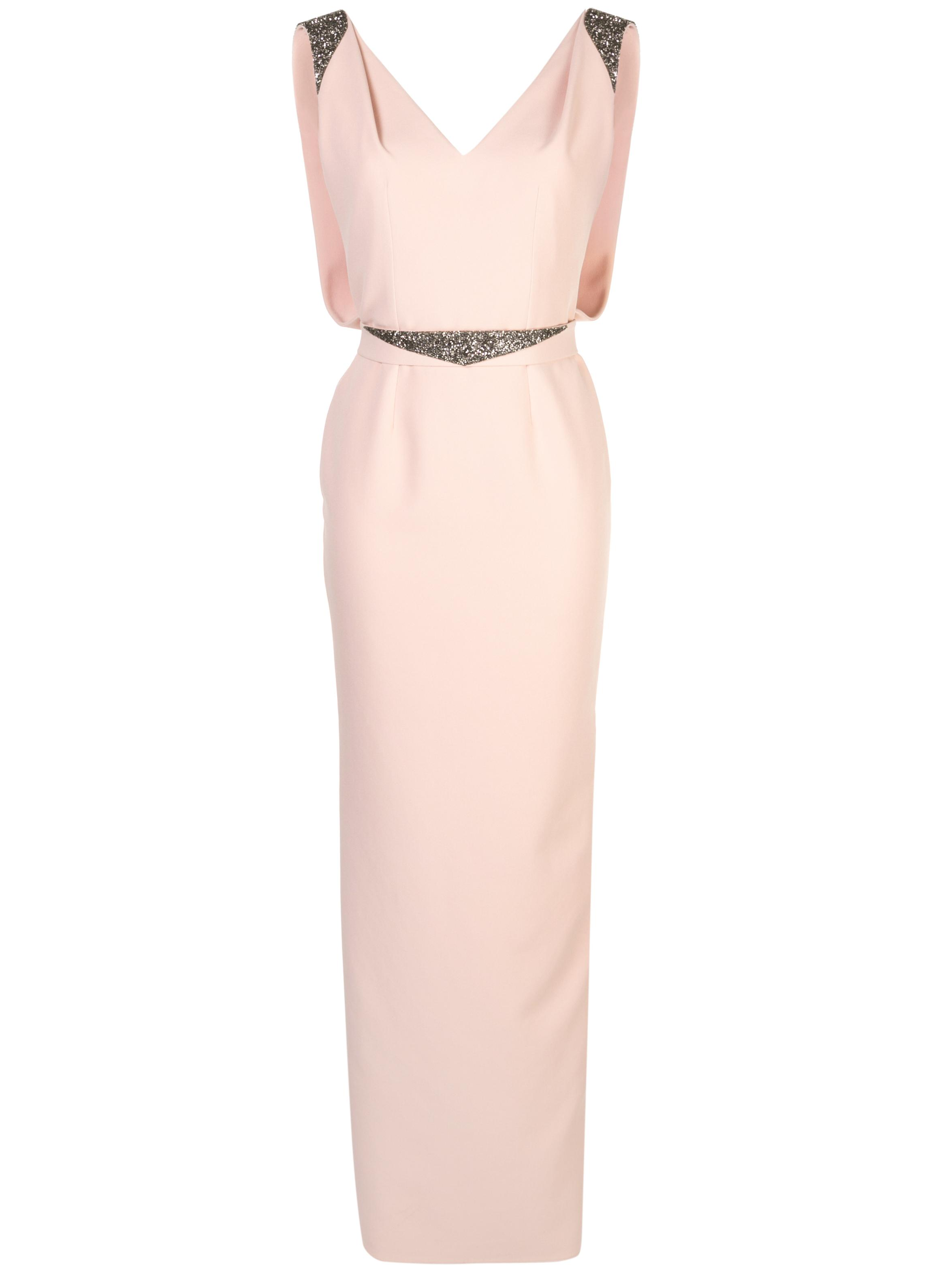 Sleeveless V-Neck Crepe Embellished Long Dress With Belt