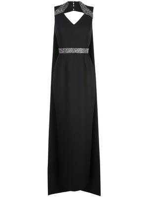 Sleeveless Crepe Embellished Long Dress With Drape Back