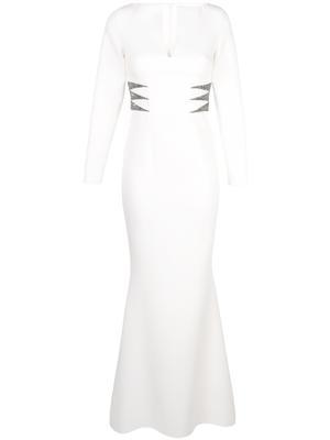 Long Sleeve Slit Neck Crepe Embellished Long Dress