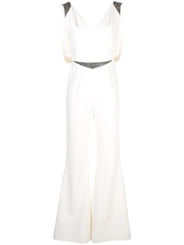 Sleeveless  V-Neck Crepe Embellished Jumpsuit With Belt