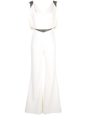 Sleeveless  V-Neck Crepe Embellished Jumpsuit With Belt