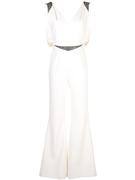Sleeveless V- Neck Crepe Embellished Jumpsuit With Belt