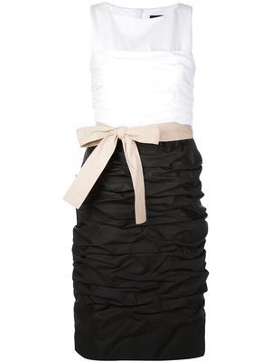 Sleeveless Poplin Stretch Color-Block Dress