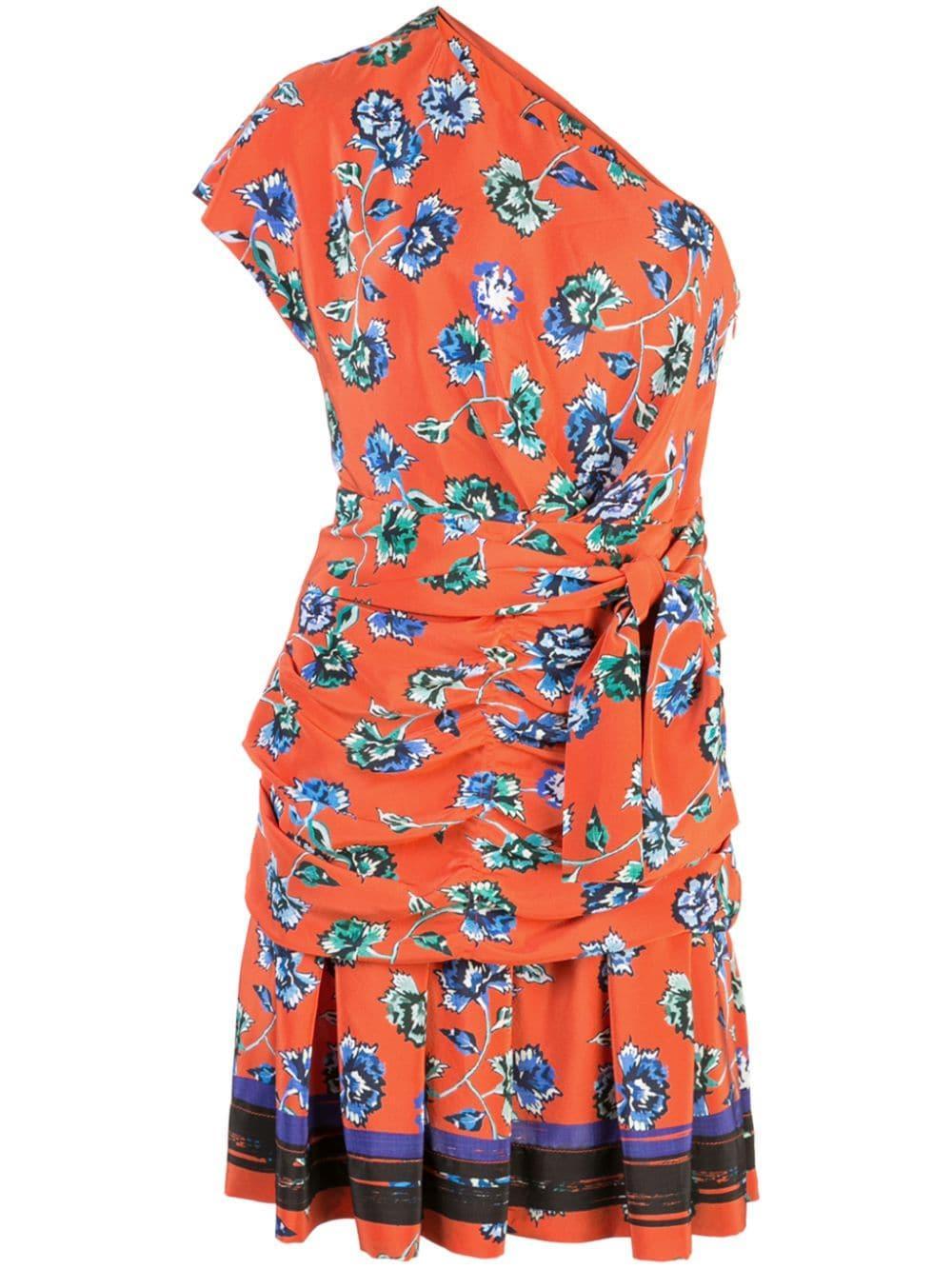 Rose Print One Shoulder Belted Dress Item # TP92509FF
