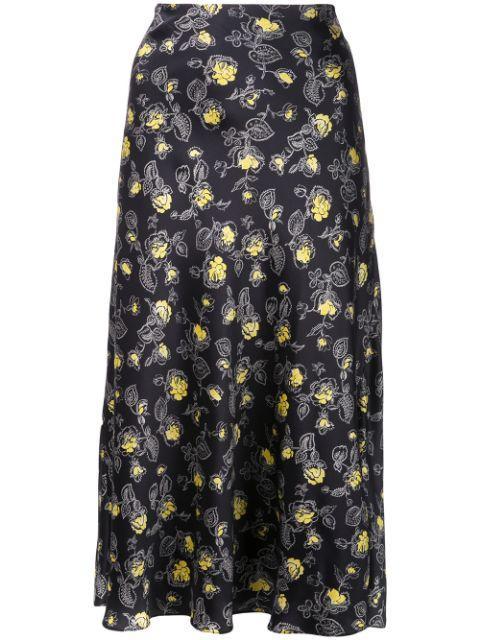 Marta Rosebud Print Slip Skirt