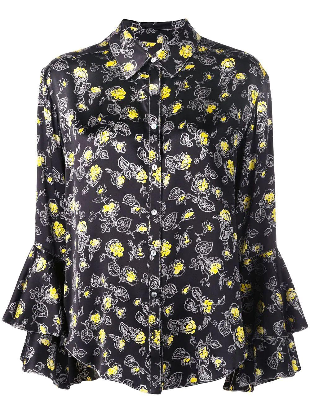 Kirby Floral Print Silk Button Down Blouse Item # ZW6953039Z