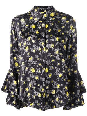 Kirby Floral Print Silk Button Down Blouse
