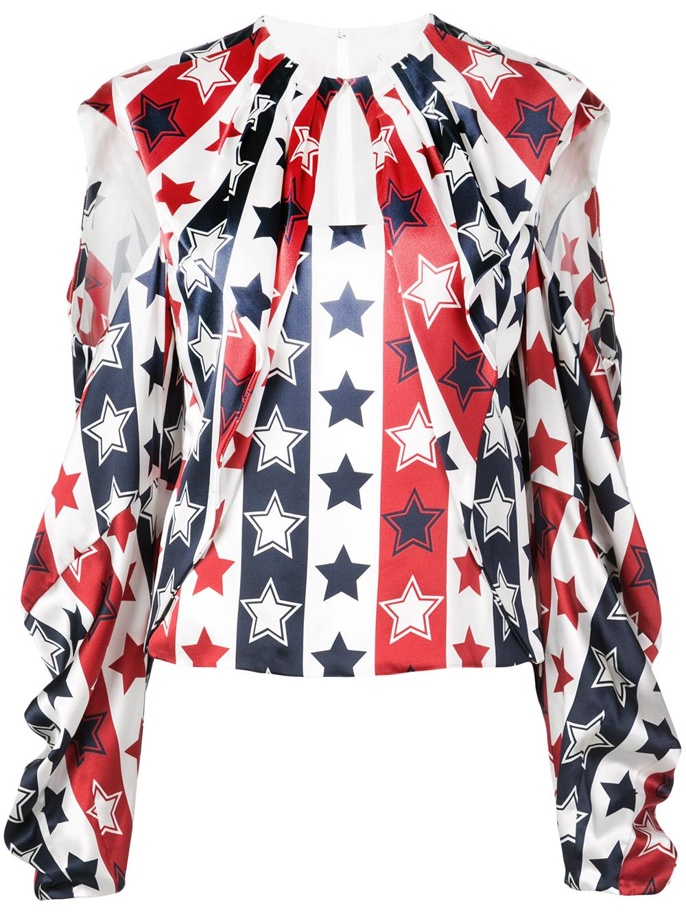 Long Sleeve Star Print Blouse With Open Shoulder