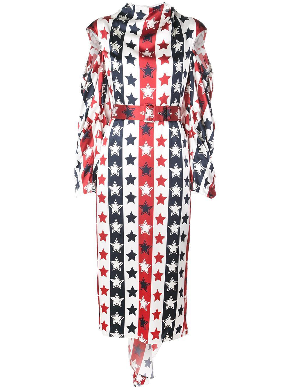 Long Sleeve Star Print Midi Dress With Open Shoulder Item # HA19D198-77