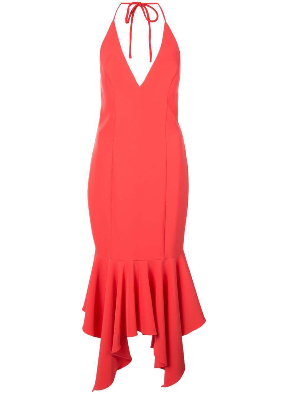 Plunging Crepe Midi Dress