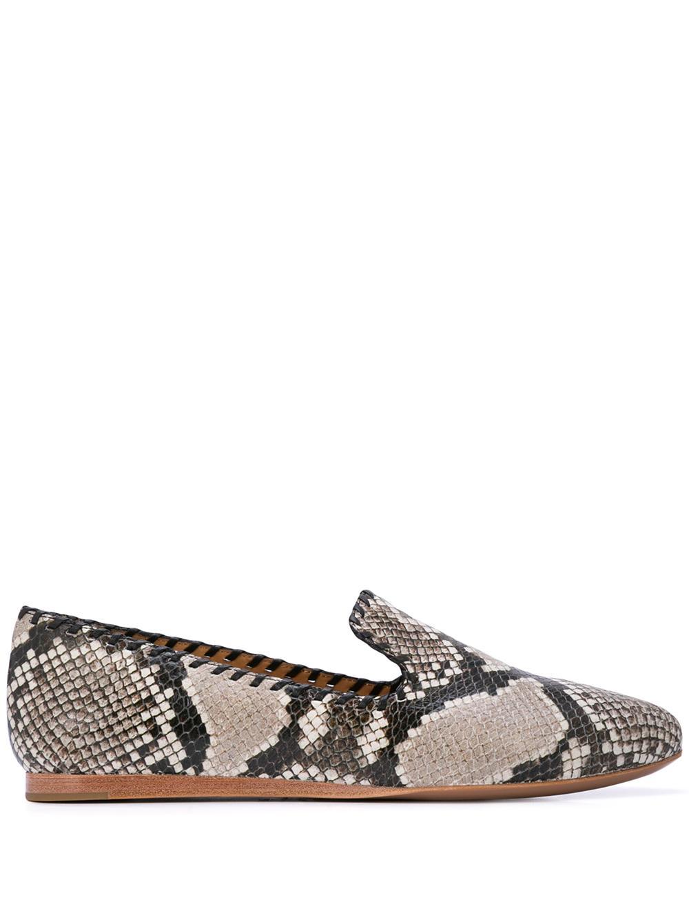 Flat Python Loafer With Whip Stitch Item # F190607EM