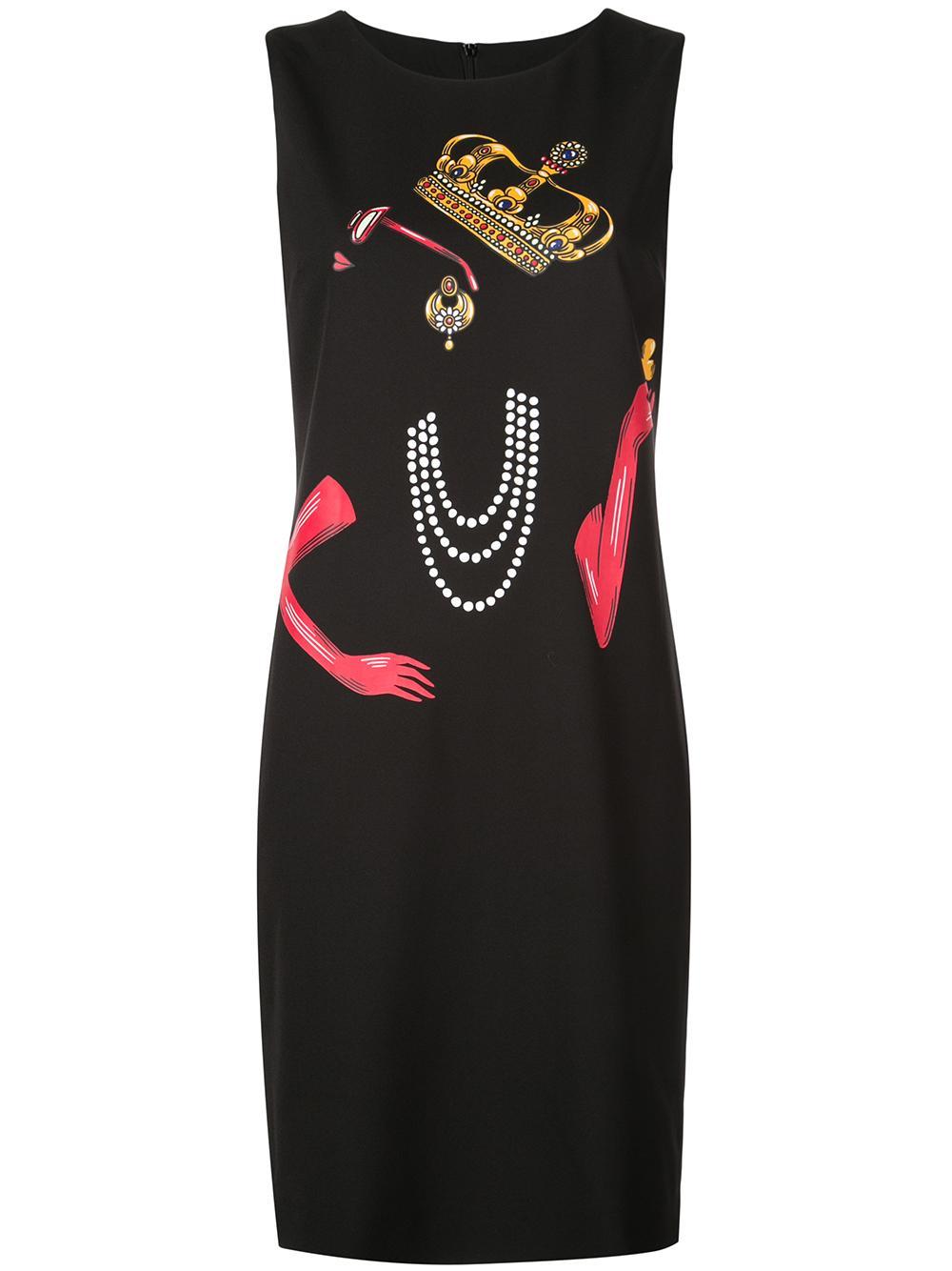 Sleeveless Crepe Print Sheath Dress Item # 0451-6134