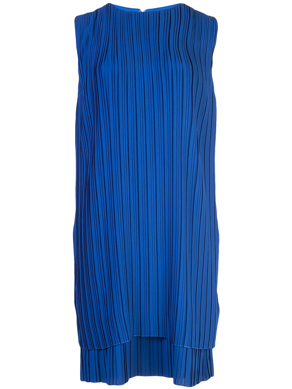 Sleeveless All Pleated Crepe Shift Dress Item # DRVV660-PAW19