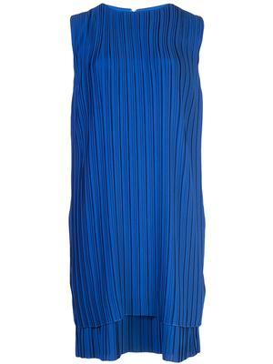 Sleeveless All Pleated Crepe Shift Dress