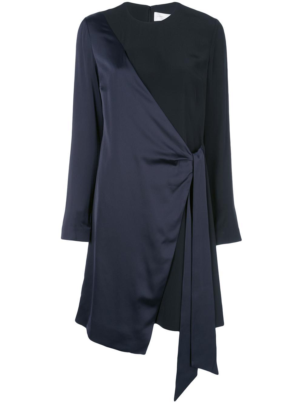 Long Sleeve Two Tone Satin Crepe Wrap Dress Item # DRVV694-PAW19