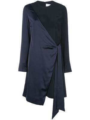 Long Sleeve Two Tone Satin Crepe Wrap Dress