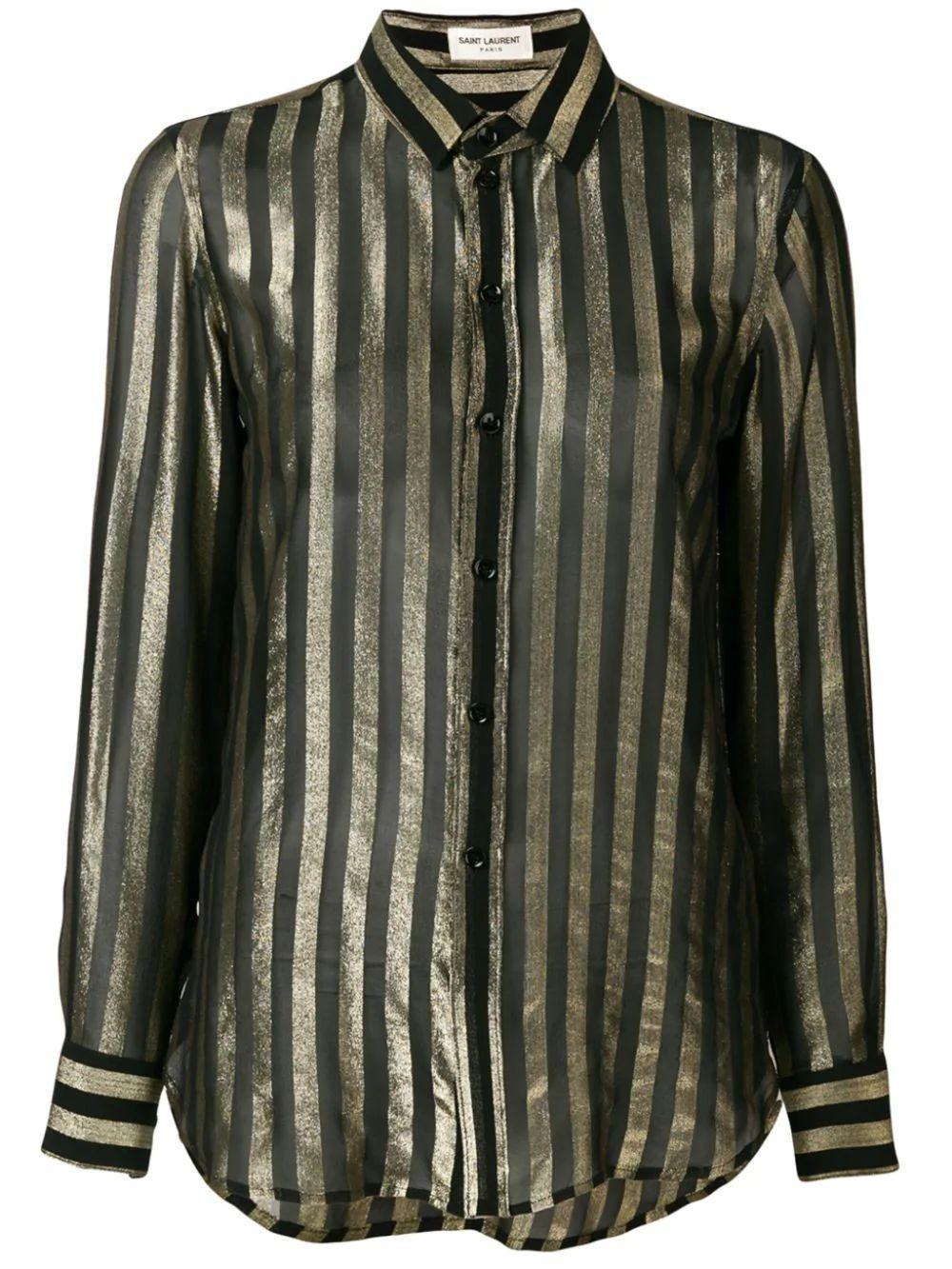Long Sleeve Lame Stripe Blouse