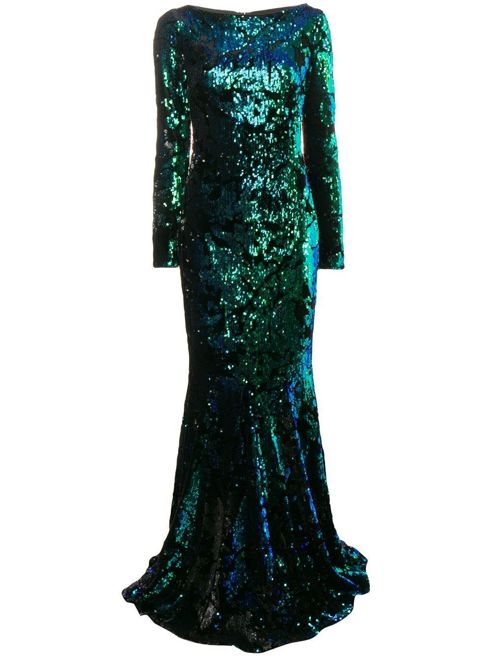 Long Sleeve Velvet Flexi Sequin Gown Item # LORENA4
