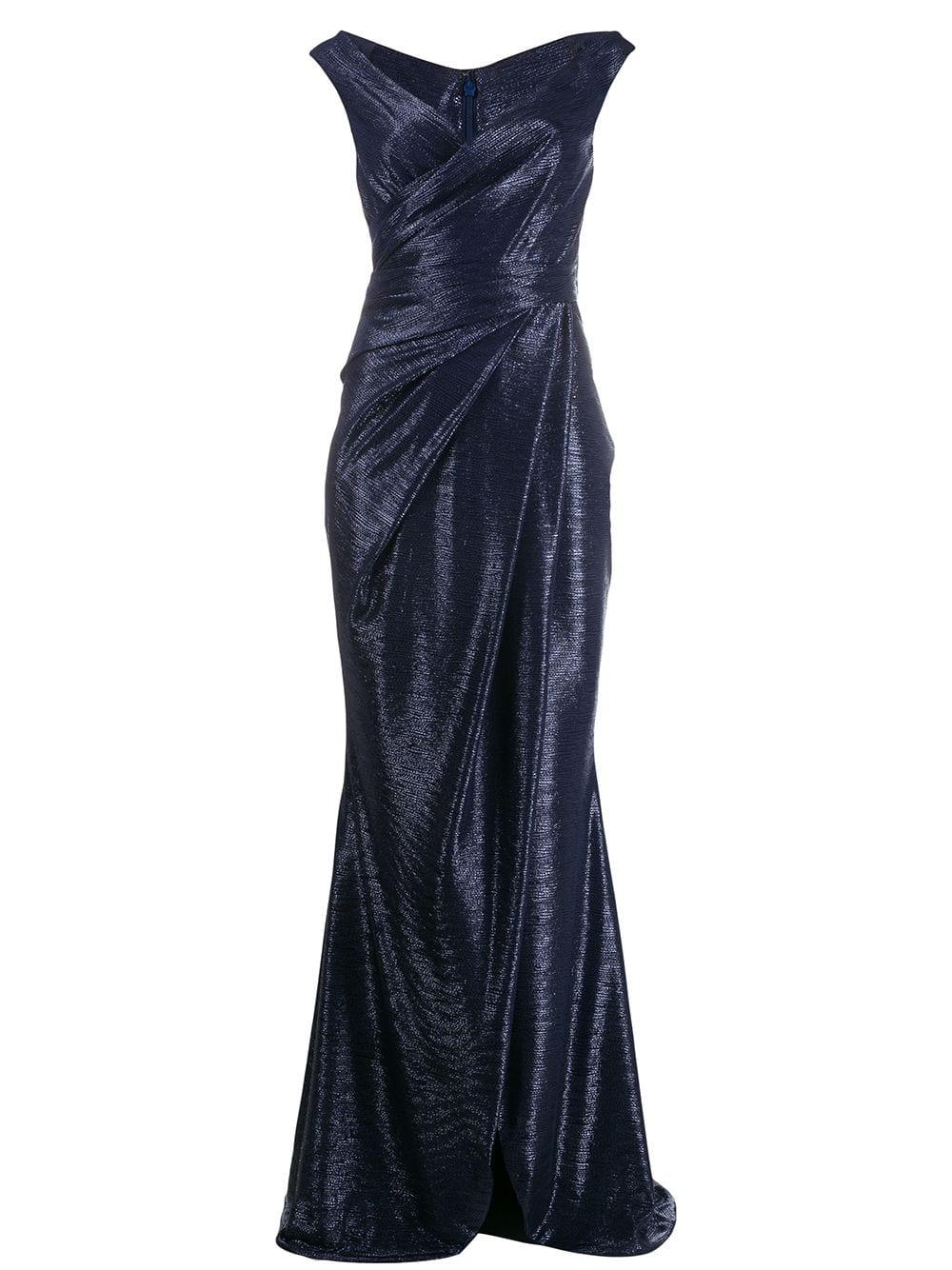 Sleeve Less Off Shoulder Mirrorball Satin Gown