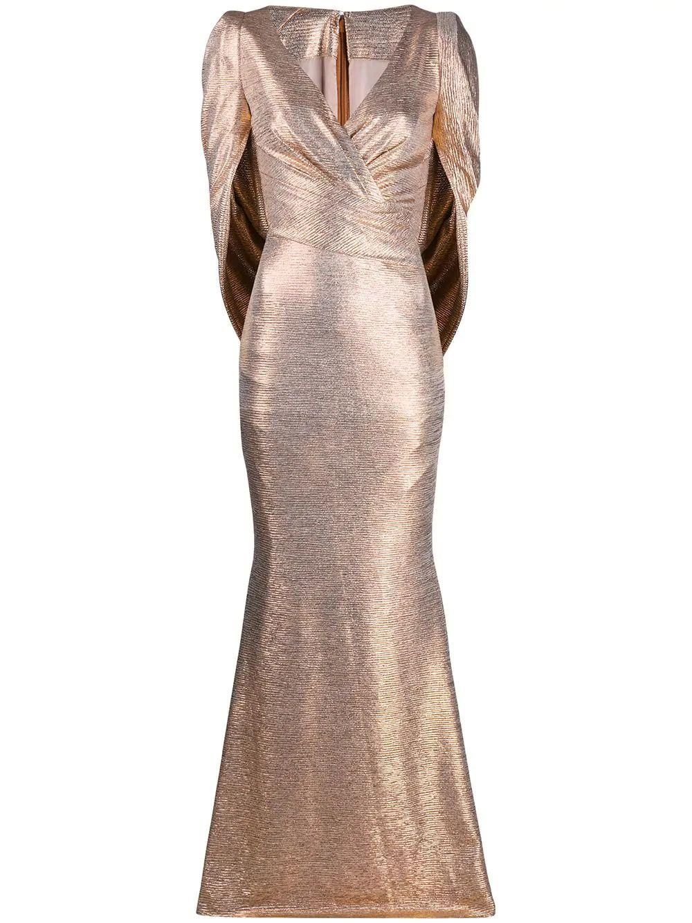 Mirrorball Stretch Gown With Connected Sleeve