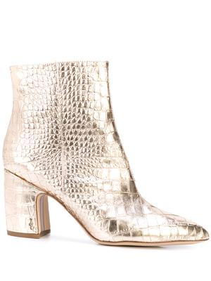 Croc Embossed Pointed Toe Bootie