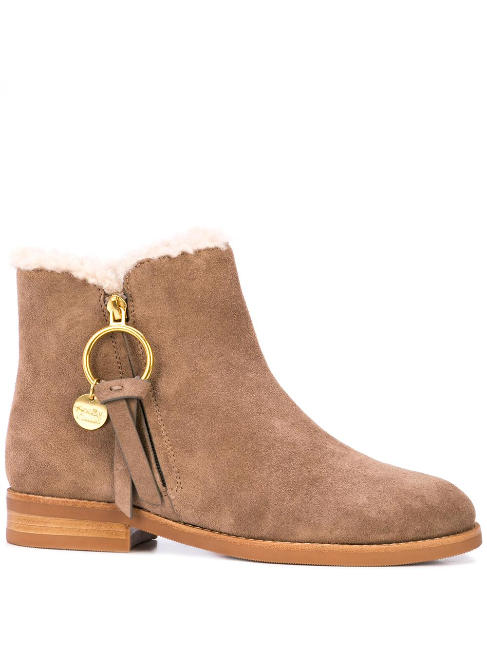 Flat Suede Bootie With Shearling Item # SB33110B