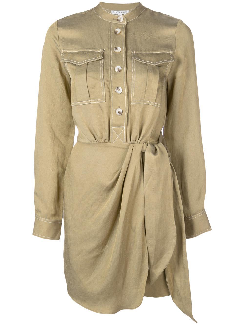 Ellington Draped Mono Shirt Dress Item # SJ4452