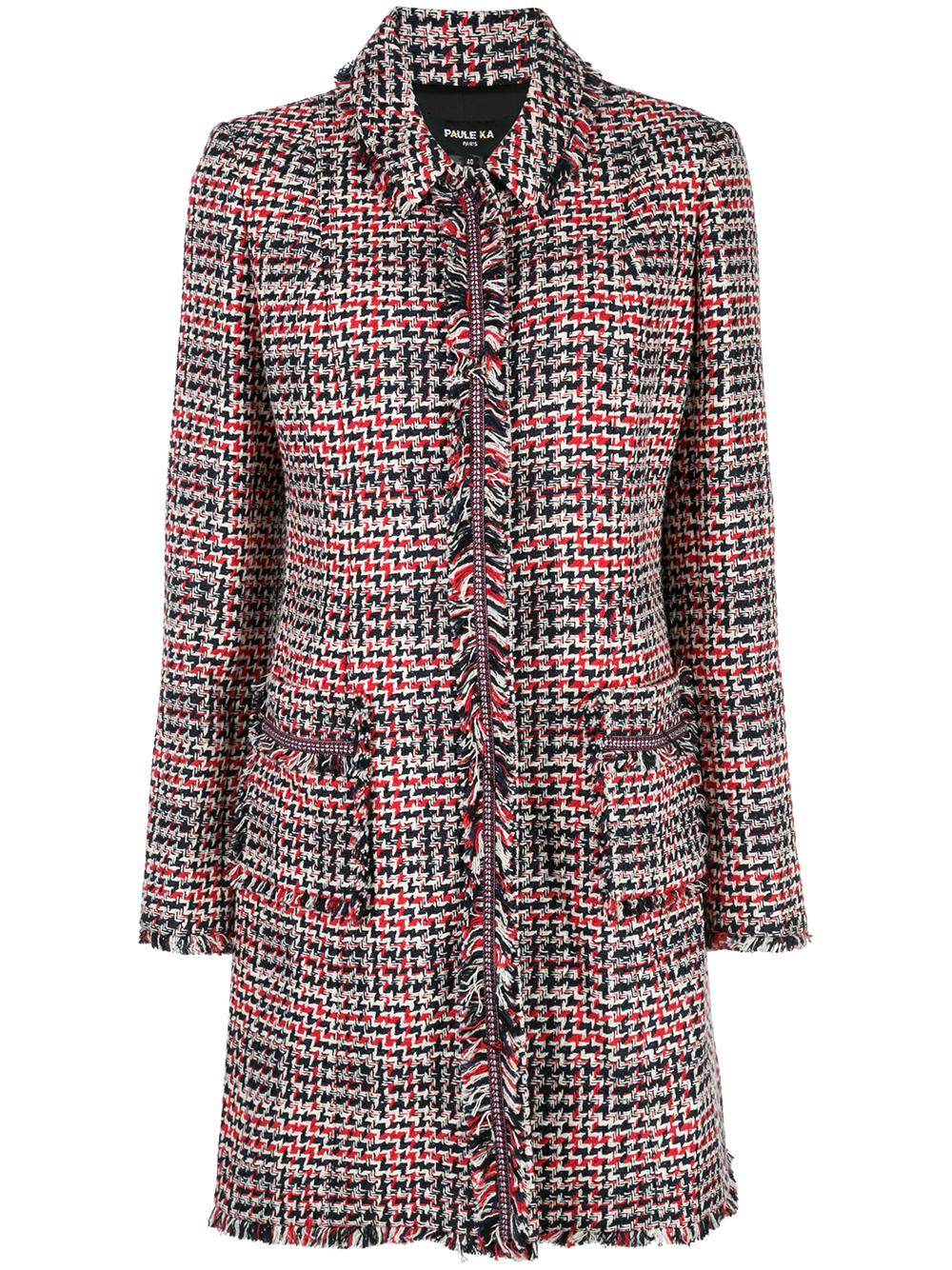 Long Sleeve Tweed Button-Up Long Jacket