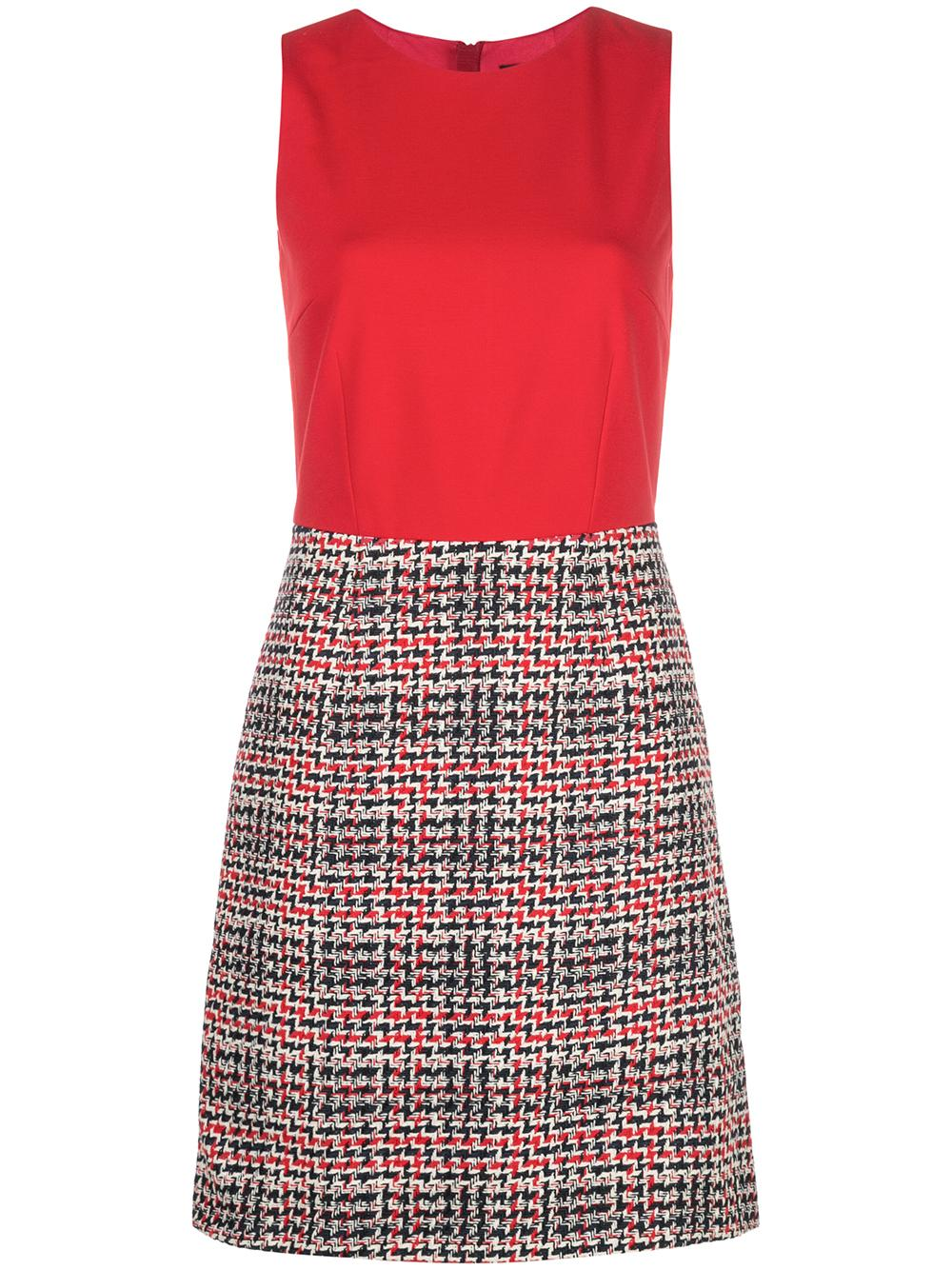 Sleeve Less Dress With Tweed Skirt
