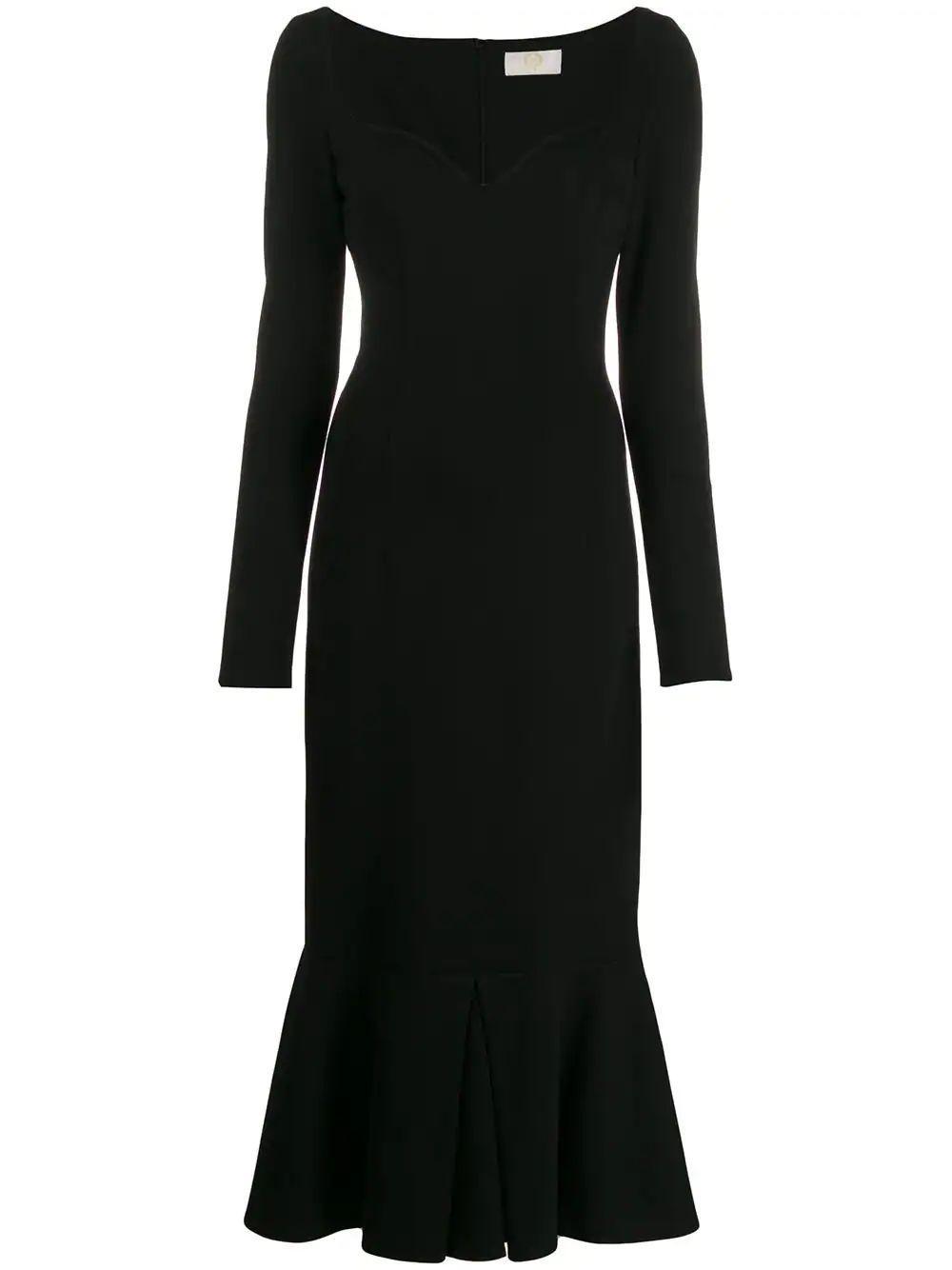 Jersey Sweetheart Neck Midi Dress