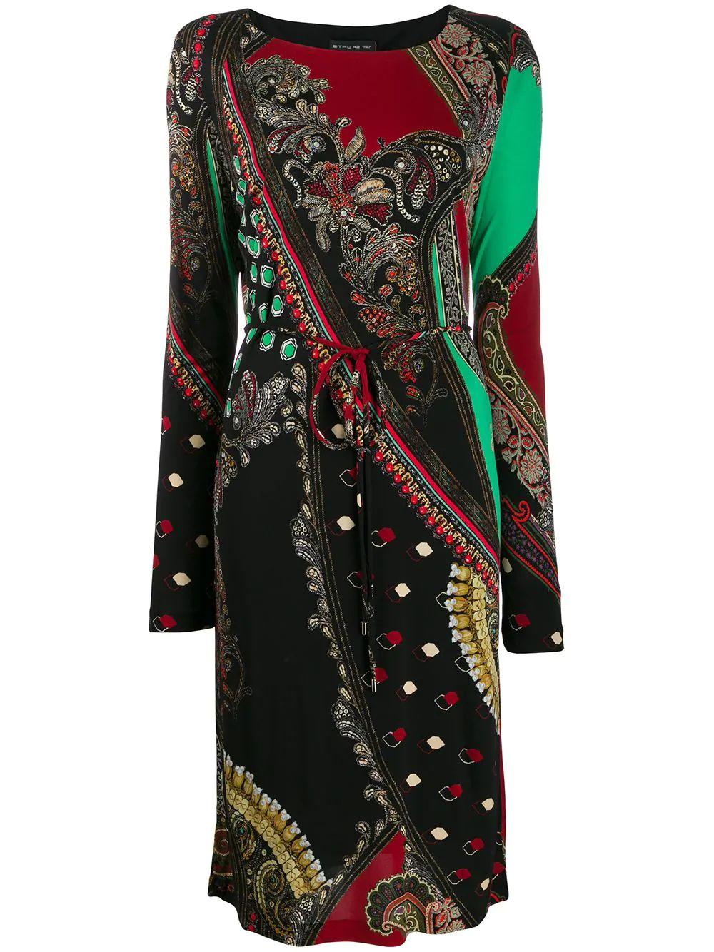Long Sleeve Jersey Print Dress With Tie Belt