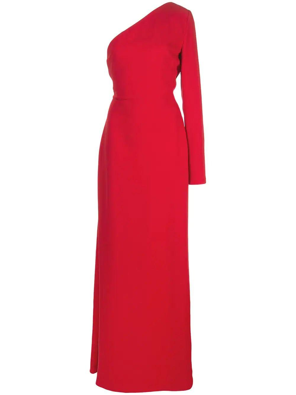 Silk One Shoulder Gown With Back Drape
