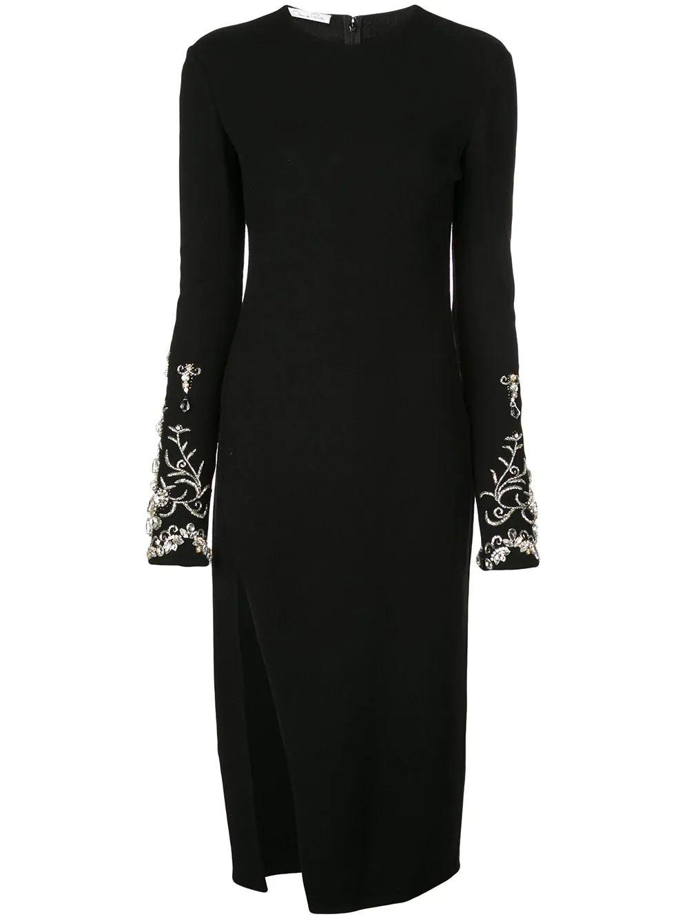 Long Sleeve Embroidery Cuff Dress With Side Slit Item # 19FE2362STW