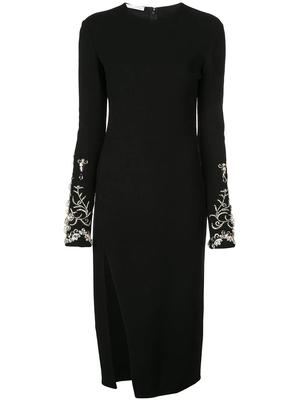 Long Sleeve Embroidery Cuff Dress With Side Slit