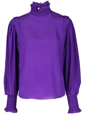 Long Sleeve High Neck Silk Blouse