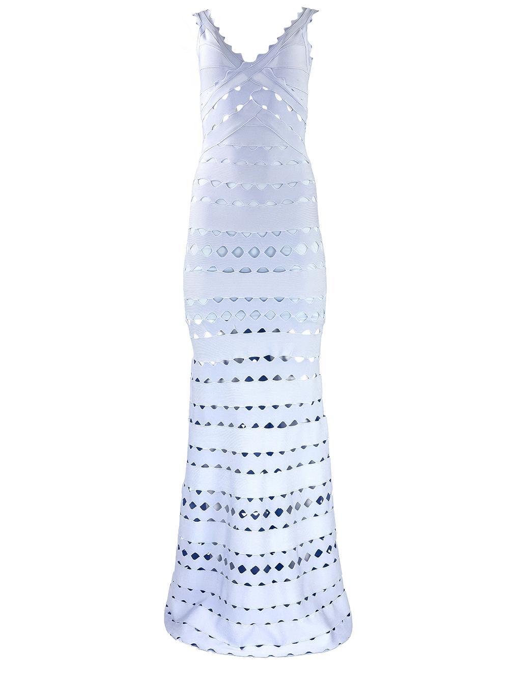 Sleeveless Cutout Scallop Gown