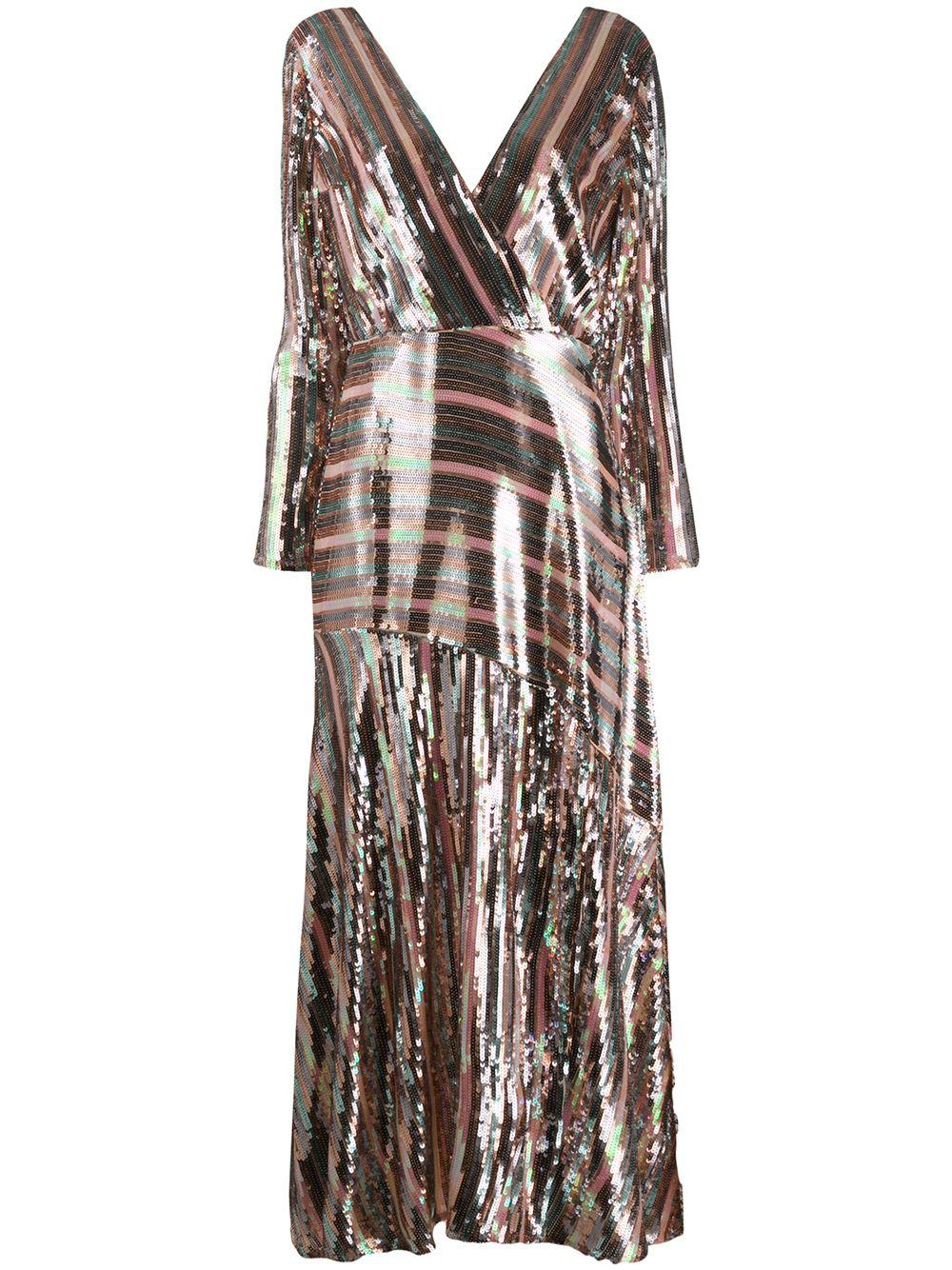 Tyra Multi Sequin Mock Wrap Midi