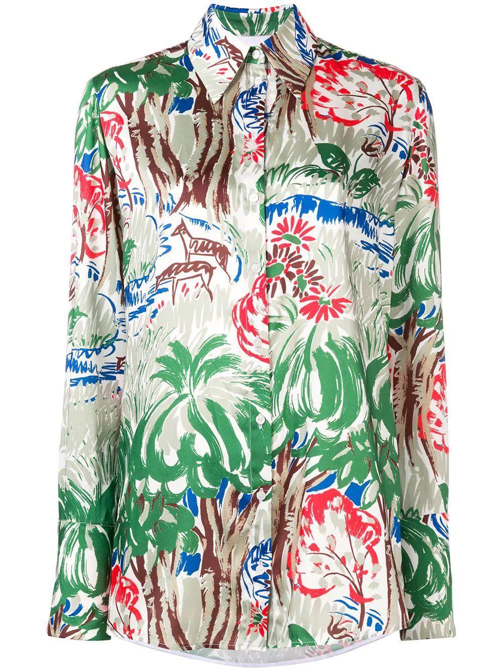 Long Sleeve Jungle Print Blouse