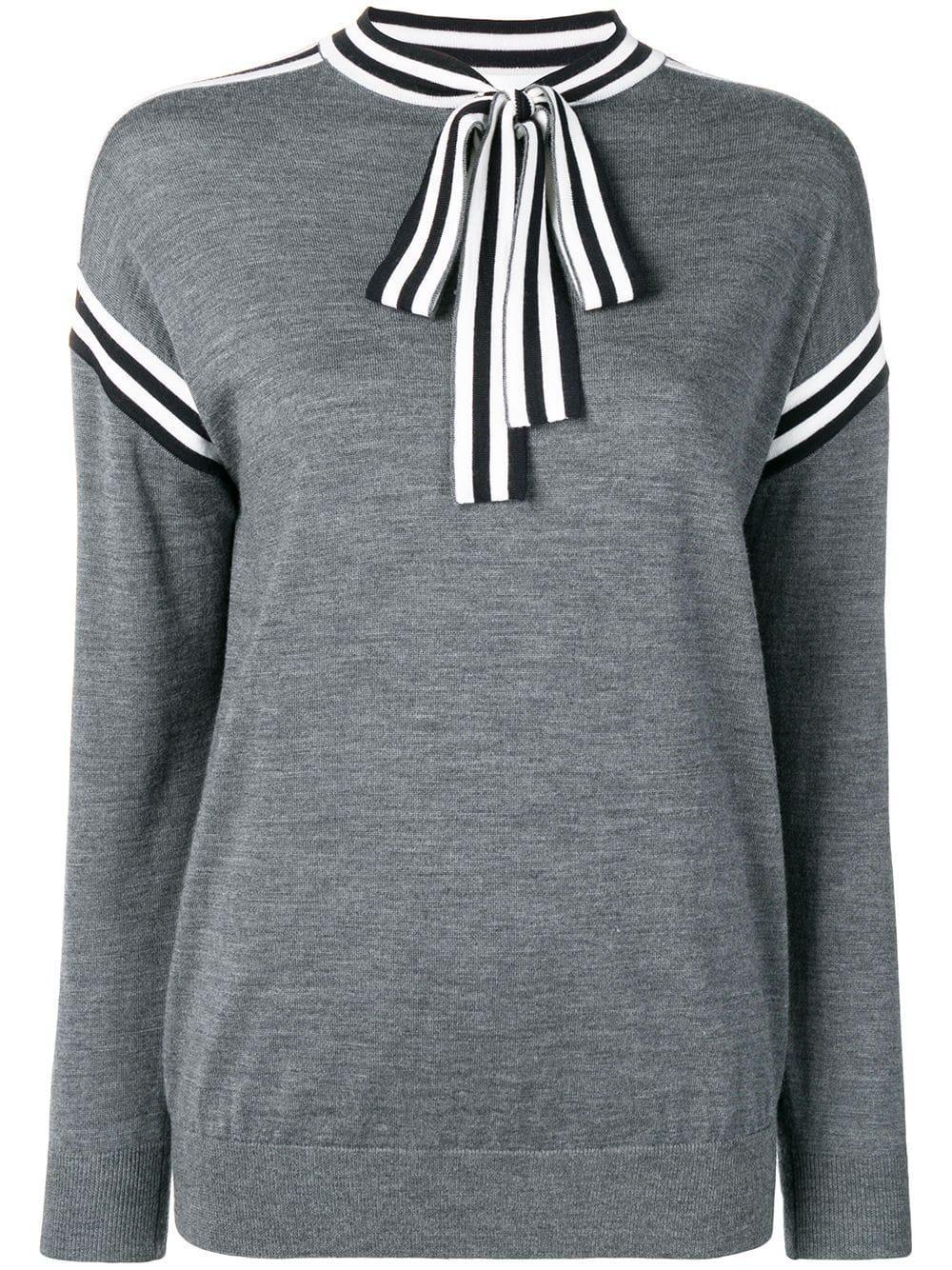 Tie Neck Knit Merino Wool Sweater