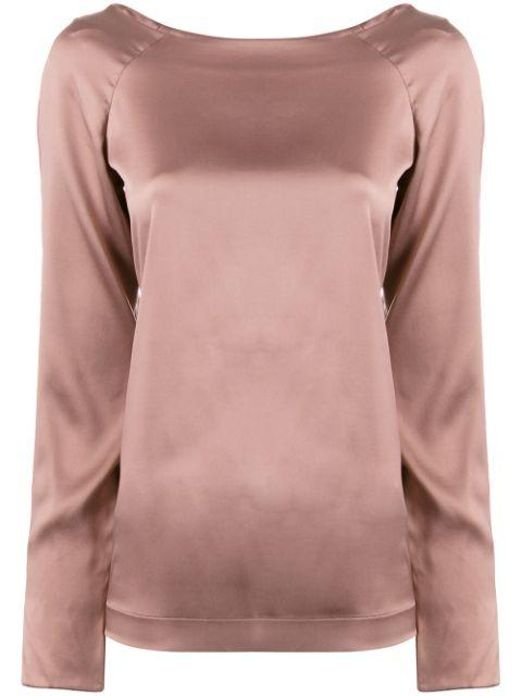 Long Sleeve Stretch Charmeuse Blouse Item # TPD119W704