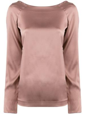 Long Sleeve Stretch Charmeuse Blouse